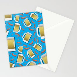 Beer and Sausage pattern on blue background German bavarian Oktoberfest Stationery Cards