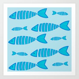 Swim with the Blue Fishes Art Print