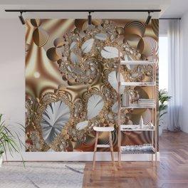 Silver leaves on golden glow -- A fractal landscape Wall Mural