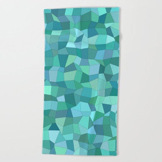 Teal rectangle mosaic Beach Towel