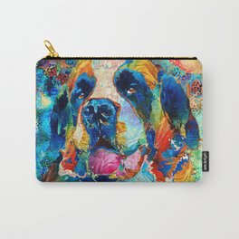 Fun Colorful Saint Bernard Dog Art St. Carry-All Pouch
