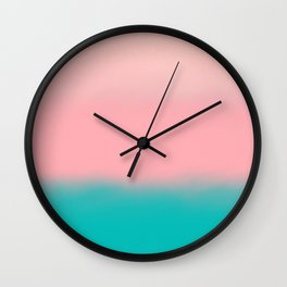 Modern abstract emerald green pink coral ombre Wall Clock