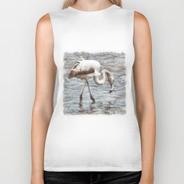 Knee Deep Flamingo Watercolor Biker Tank