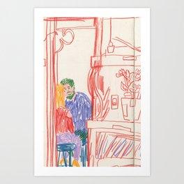 Cafe Drawing Art Print