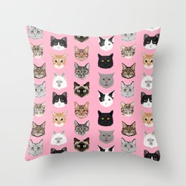 Cats Cats Cats purrfect gift present for cat lover cat lady cat man all cat breeds by pet friendly Throw Pillow