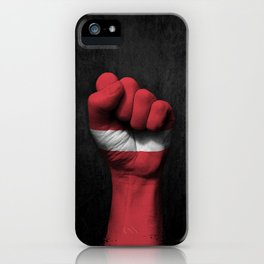 Latvian Flag on a Raised Clenched Fist iPhone Case