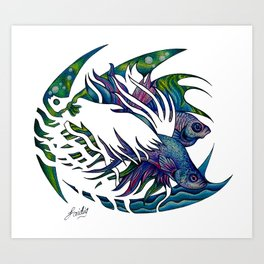 Siamese fighting fish themed artwork Art Print