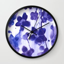 Floral splash: Abstract watercolor painting in purple and blue Wall Clock