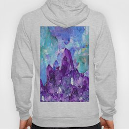 PURPLE AMETHYST CRYSTALS & BLUE-GREEN AQUAMARINE Hoody