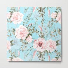 Blush Watercolor Spring Florals On Teal Metal Print