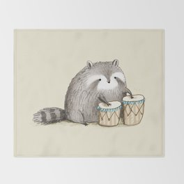 Raccoon on Bongos Throw Blanket