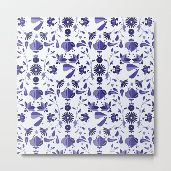 Blue Flower Bohoo Pattern Metal Print