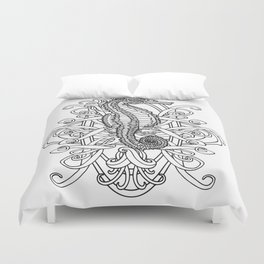 Seahorse and Curlicues Duvet Cover