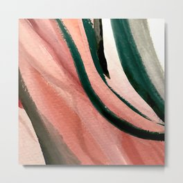 Spring in the City - a pretty mimimal watercolor abstract piece in pinks and greens Metal Print