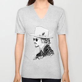 Johnny Depp with sun-glasses Unisex V-Neck