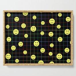 Colorful Smiley Emoji 4 - black Serving Tray