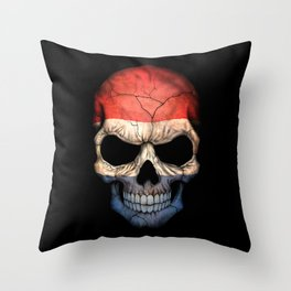 Dark Skull with Flag of The Netherlands Throw Pillow