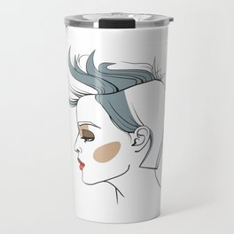 Woman with trendy haircut. Abstract face. Fashion illustration Travel Mug
