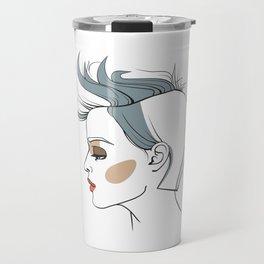 Woman with trendy haircut. Abstract face. Fashion illustration Travel Mug