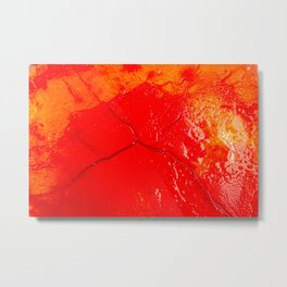 Image of blood-colored liquids mixed with other organic fluids Metal Print
