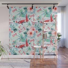 Retro 60s Bus, Surfboard, Bikini, Palm Trees, Beach Scene Wall Mural
