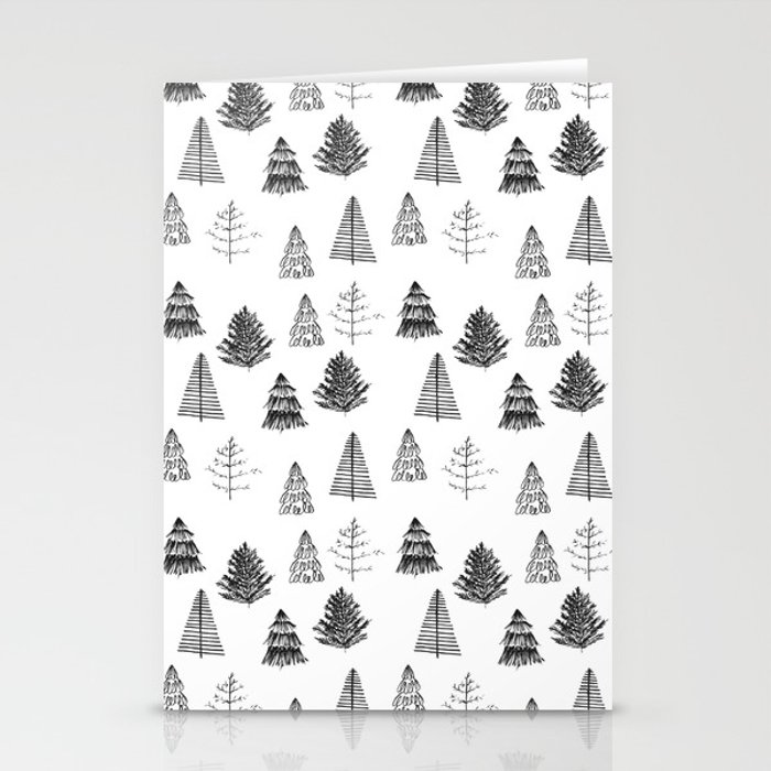 Trees Pattern Black and White Stationery Cards