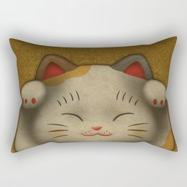 maneki-neko | Lucky Cat (White) Rectangular Pillow