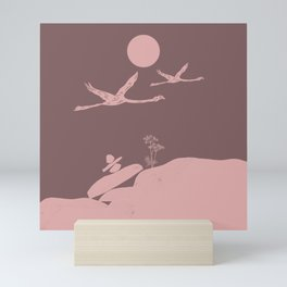 Earthy Flamingo Love Couple Mini Art Print