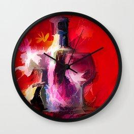 Fun Colorful Modern Wine Art (wine bottle & glasses) #society6 #wine Wall Clock