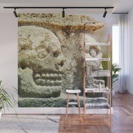 Mayan Stone Skulls Wall Mural