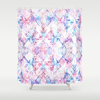ikat Shower Curtains featuring Ikat #5A by Schatzi Brown