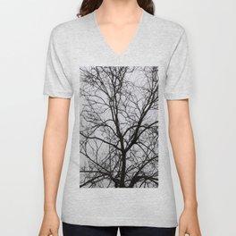 Black tree Unisex V-Neck