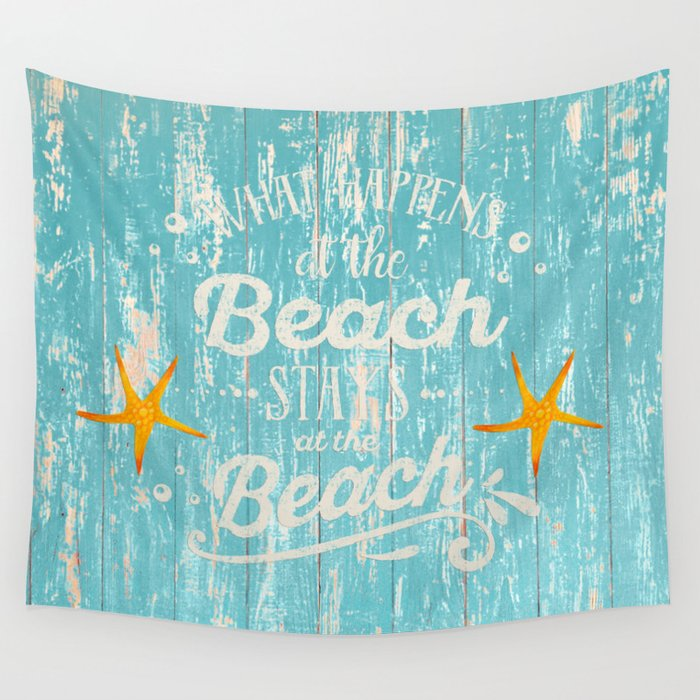Happy Beach Life- Saying on aqua wood Wall Tapestry
