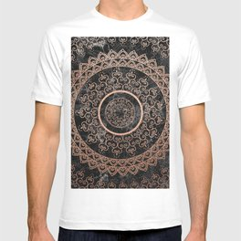 Mandala - rose gold and black marble T-shirt