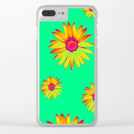 Flowers on Green Clear iPhone Case
