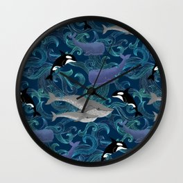 Beautiful Ocean Giants - teal Wall Clock