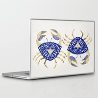 crab Laptop & iPad Skins featuring Crab – Navy & Gold by Cat Coquillette