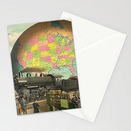 Vintage Retro Steampunk World Globe Transport Stationery Cards