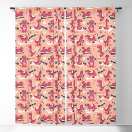 Fitness exercises for a dino // coral background red t-rex dinosaurs Blackout Curtain