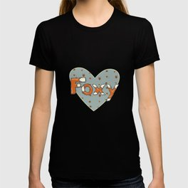 Foxy pattern and typeface T-shirt