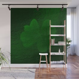 with a small brush shiny green shamrock Wall Mural