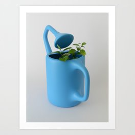 The Uncomfortable Watering can and plant Art Print