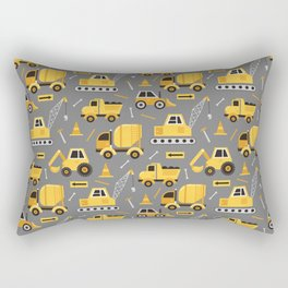 Construction Trucks on Gray Rectangular Pillow