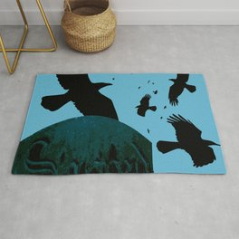 Sacred Gothic Text Gravestone With Crows and Ravens Rug