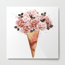 Fashion illustration, print for T-shirt with ice cream from rose flowers Metal Print