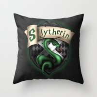 slytherin Throw Pillows featuring Slytherin Crest by Sharayah Mitchell