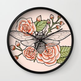 Cicada with Roses - Pink Wall Clock