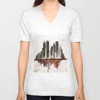 nyc V-neck T-shirts featuring NYC by Rosalia Mendoza