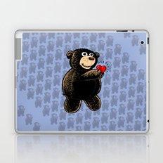 Teddy Bear Holding Heart w/Blue Pattern Laptop & iPad Skin