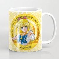 sailor venus Mugs featuring Sailor Venus - Crystal Intro by Yue Graphic Design